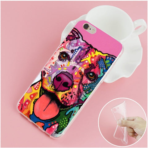 Happy Colorful Pitbull Phone Case for iPhone