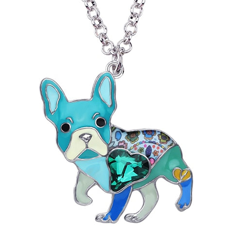 Enamel Alloy Rhinestone French Bulldog Pendant Necklace