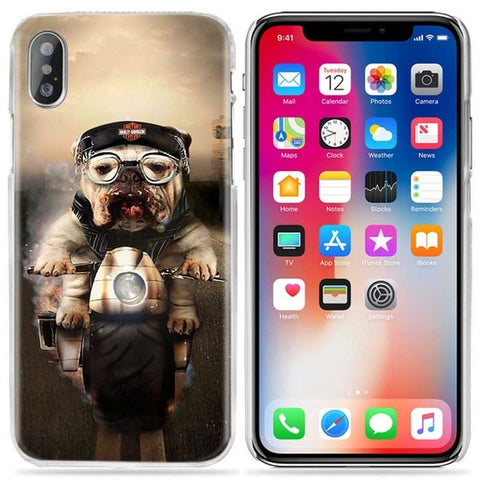 English Bulldog Harley Motorcycle Phone Case for iPhone