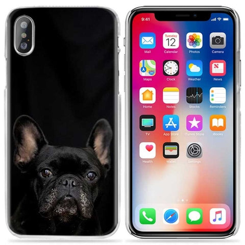 All Black French Bulldog Looking Straight In Black Background Phone Case for iPhone