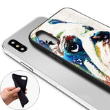 English Bulldog Looking Up Water Color Painting Phone Case for iPhone