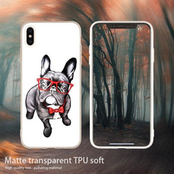 French Bulldog Red Glasses Bow Tie Phone Case for iPhone