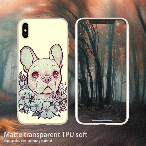 Pretty French Bulldog Flower Necklace Light Tan Shade Phone Case for iPhone
