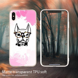 Smart French Bulldog Outline Glasses Phone Case for iPhone