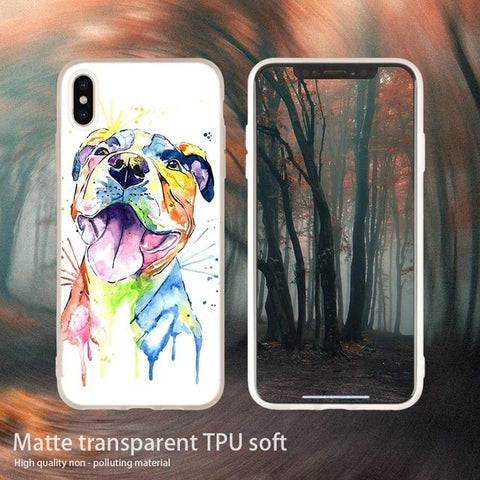 Pit Bull Rainbow Water Painting Phone Case for iPhone