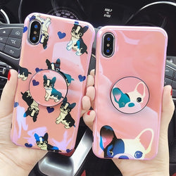 Pink French Bulldog Phone Case w/ Pop Up Grip Stand for iPhone