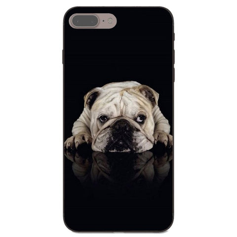 English Bulldog Laying Down Shadow Black Background Phone for iPhone