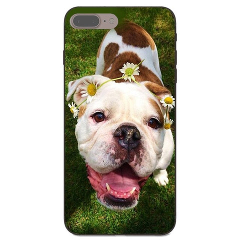 English Bulldog Puppy Looking Up Flower Phone Case for iPhone