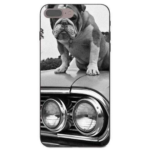 English Bulldog Sitting On Classic Car Phone Case for iPhone