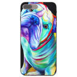Colorful Neon Confused Sitting English Bulldog Phone Case for iPhone