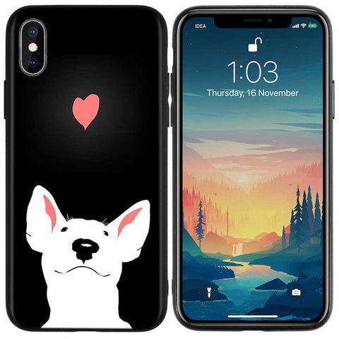 Smiling Cartoon Bull Terrier Heart on Top Phone Case for iPhone