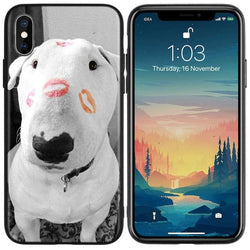 Black & White Bull Terrier Kisses Phone Case for iPhone