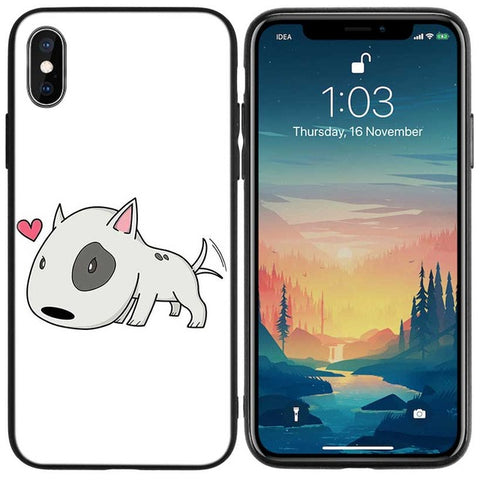 Big Head Bull Terrier Heart Cartoon Phone for iPhone