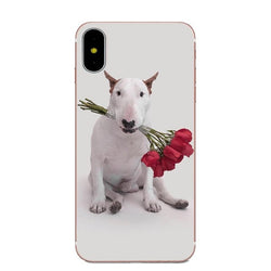 Bull Terrier Biting Red Roses Phone Case for iPhone