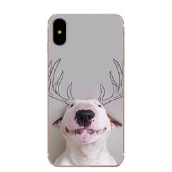 Bull Terrier Antler Drawing Phone Case for iPhone