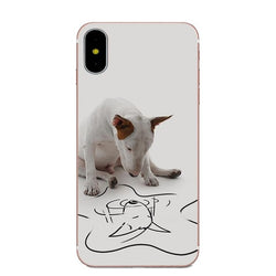 Bull Terrier Reflection Drawing Phone Case for iPhone