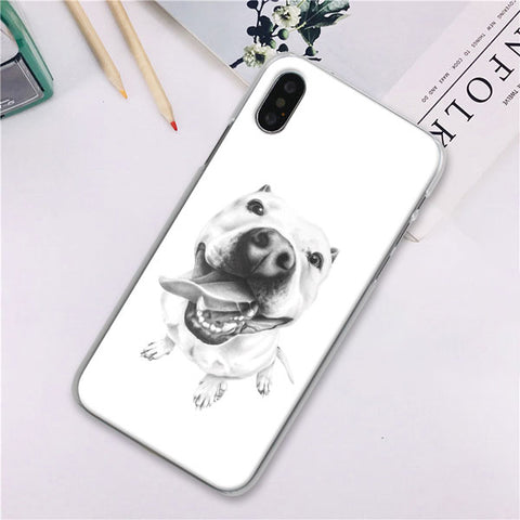 Pit Bull Portrait Sketch Phone Case for iPhone