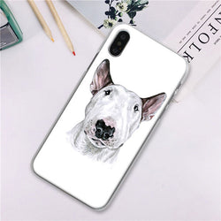 Bull Terrier White Sketch Phone Case for iPhone