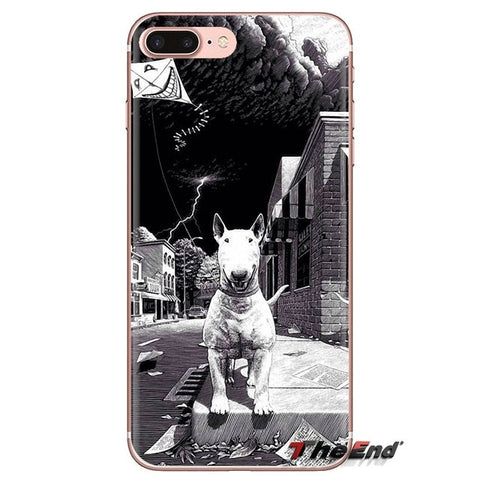 Grayscale Smiling Bull Terrier In A Storm Phone Case for iPhone