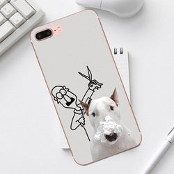 Bull Terrier Barber Shop Haircut Drawing Phone Case for iPhone