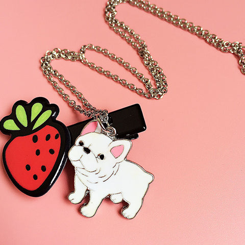 Cute White French Bulldog Puppy Pendant Necklace