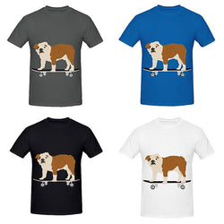 Tan Brown English Bulldog On Skateboard Men's T-Shirt