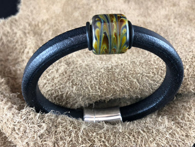 Black Leather Bracelet with Multi-Color Glass Bead Slider