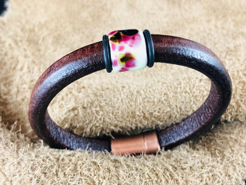 Distressed Brown Leather Bracelet with Plumb Ceramic Slider