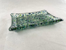 "Fused Glass Soap Dish - ""Blue/Green Speckles"""