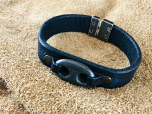 Black Flat Leather Bracelet with Double Hole Black Stone Focal Piece