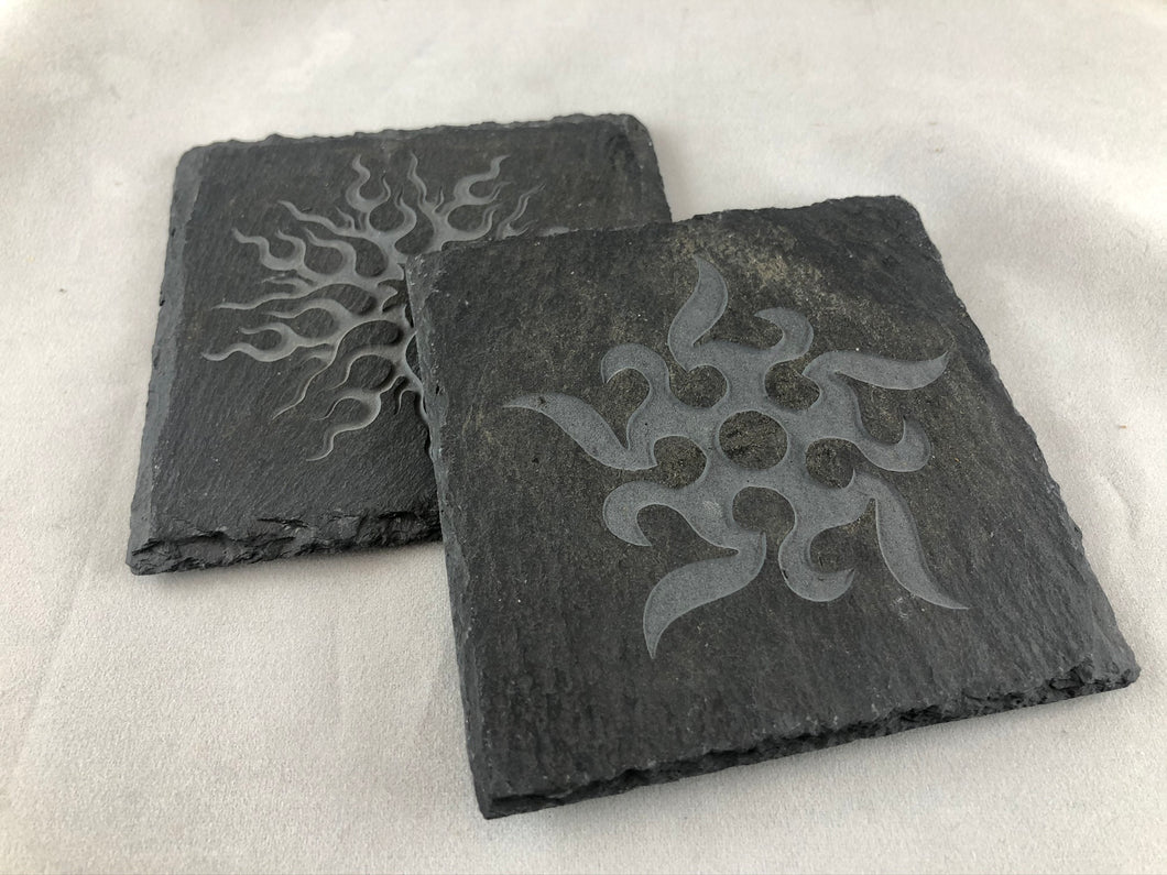 Tribal Suns - Slate Coasters
