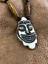 Carved Bone Tribal Smiling Face Mask Pendant Necklace