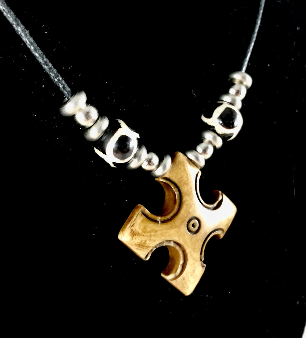 Carved Bone Tribal Cross Pendant Necklace