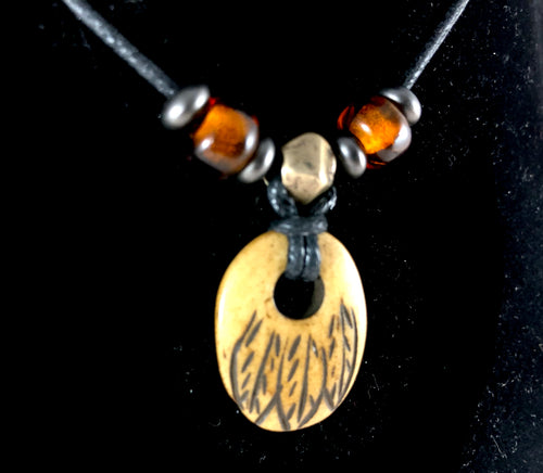 Carved Bone Tribal Feather Pendant Necklace