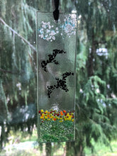 "Fused Glass Sun Catcher - ""Birds Reaching for the Clouds"""