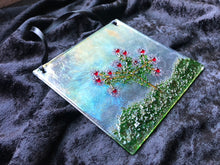 "Fused Glass Sun Catcher - ""Rose Bush"""