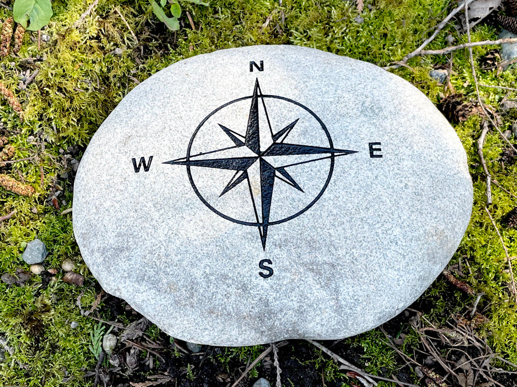 Compass Rose - Sand Carved Stone - Large 10-1/4