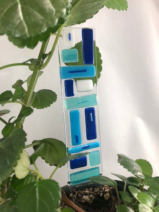 Fused Glass Plant Stake Totem - Blue Tones