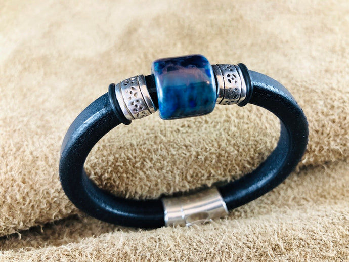 Black Leather Bracelet with Deep Blue/Green Ceramic Bead Slider