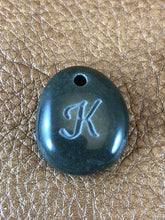 Monogram Initial Sand Carved Focal Bead Sterling Silver Necklace
