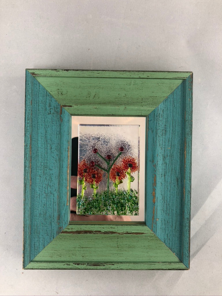 Framed Fused Glass Flowers -