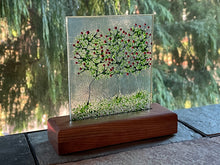 "Fused Glass Art/Sun Catcher Mounted on Cherry Wood Stand - ""Rose Bushes"""