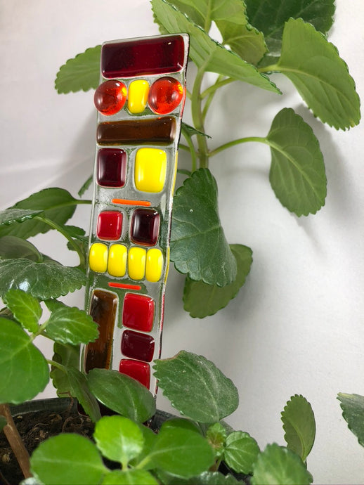 Fused Glass Plant Stake Totem - Red Tones