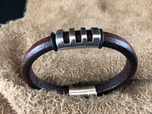 Leather Bracelet with Short Antique Silver Ladder Slider