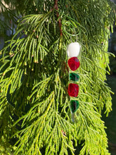 Festive Fused Glass Icicle Christmas Ornaments