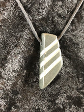 Trapazoid Basalt Carved Striped Focal Bead