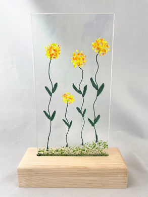 Fused Glass Art/Sun Catcher Mounted on Maple Wood Stand -