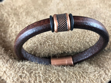 Distressed Brown Leather Bracelet with Large Dotted Copper Slider