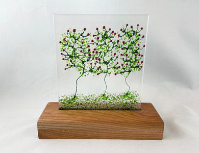 Fused Glass Art/Sun Catcher Mounted on Cherry Wood Stand -