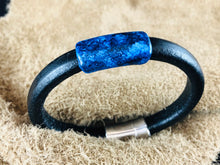Black Leather Bracelet with Multi-Color Ink on Metal Slider